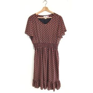 NWT Vintage 70's Floral Boho Ruffle Dress Large